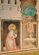 The Prayer before the Crucifix of St Damian, by Giotto, 1297 - 1299, 13th Century, fresco, cm 270 x 230. Italy, Umbria, Perugia, Assisi, Upper Basilic...