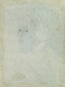 Sketch of Female Head, by De Superville Pierre David Humbert, 18th Century -19th Century, 1770 -1849, black pencil, white paper, mm 231 x 171. Italy, ...