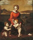Madonna and Child with the Infant Saint John (Madonna con Gesù Bambino e san Giovannino), by a copy of Raffaello Sanzio, 1638, 17th Century, oil on ca...