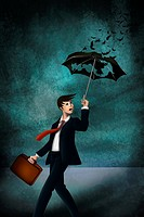 Illustrative image of young businessman with worn out umbrella in storm representing inadequate insurance.