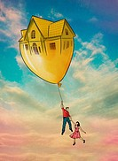 Illustrative image of couple flying with house shaped balloon representing inflation.