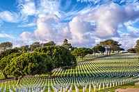 Fort Rosecrans National Cemetery with majestic cloud formations. San Diego, California, United States.