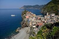 Europe, mediterranean, riviera, italian, Italy, Cinque Terre, Rio Maggiore, coast, coastline, sea, village, shore, cliff, hillside, boat, sea, liguria