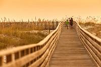 A scenic view of a boardwalk thru the sand dunes at the Gulf Coast State Park´s white sand beach, in Orange Beach, Alabama