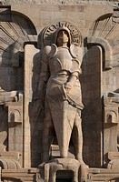 Statue of Archangel Michael, after the renovation of the Monument to the Battle of the Nations, Leipzig, Saxony, Germany