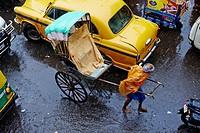 India, West Bengal, Kolkata, Calcutta, the last day of rikshaw of Kolkata, rickshaw on the street.