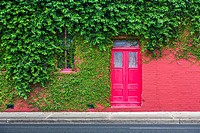 Ivy covered bright red brick wall with bright red door in downtown Green Cove Springs, Florida.