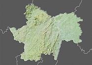 Departement of Saone-et-Loire, France, Relief Map