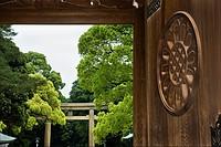 Carved wood doorway at Meiji Shrine in Tokyo, Japan.