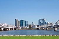 Suspension Bridge and City