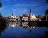 D-Karlstadt, Main, Unterfranken, Bayern, Mainpromenade, Stadtbefestigung, Stadtmauer, Stadttor D-Karlstadt, Main, Franconia, Bavaria, Main promenade, ...