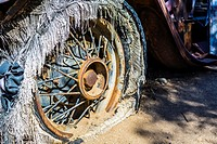 Close up of a tire on an abandonded car. Joshua Tree National Park, California, United States.