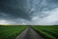 Spring thunderstom over fields, Prudnik County, Opole Voivodship, Silesia, Poland.