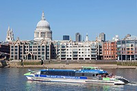 England, Europe, London, Thames Clipper Boat and St Paul's Cathedral