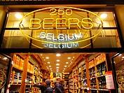 Popular beer shop near La Grand Place. Brussels, Belgium, Europe.