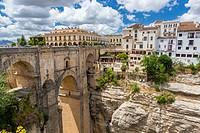 The Puente Nuevo bridge over Guadalevín River in El Tajo gorge, Ronda, Malaga province, Andalusia, Spain, Europe.