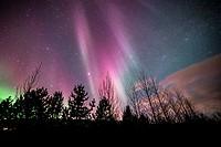 Winter Icelandic landscape with Northern lights background. Laugarvatn. Golden Circle. Iceland.