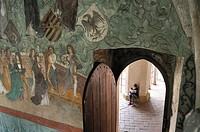 mural decoration of Zvikov Castle, next to the village of Zvikovske Podhradi, district of Pisek, South Bohemian Region, Czech Republic, Europe.
