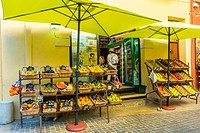Collioure, France, Fresh Fruit on Display, Local Grocery Store, in Seaside Village near Perpignan, South of France.