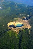 Aerial view of multi coloured crater lakes of Kelimutu volcano, eastern Flores, Nusa Tenggara, Indonesia, South East Asia.