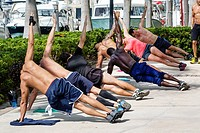 Florida, Miami Beach, South Pointe Park, Coast Guard, guardsmen, exercising, fitness, Black, man.