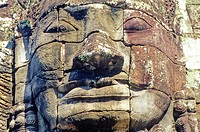 Bayon Buddisht temple in Angkor Thom, the capital city of the Khmer empire, XIIth century. Angkor, Siem Reap Province, Cambodia