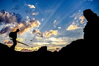"Photographer silhouette at Monegros desertic area called """"La Cobeta"""", Jubierre, Castejón de Monegros, Huesca, Aragón, Spain."