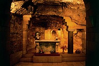 Grotto of the Annunciation, inside the Church of the Annunciation, 1969, Nazareth, Israel.