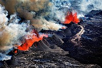 Volcano Eruption at the Holuhraun Fissure near Bardarbunga Volcano, Iceland. Aerial view of lava and plumes. August 29, 2014 a fissure eruption starte...