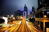 Night traffic at Causeway Bay, Central, Hong Kong Island, Hong Kong, China, East Asia.