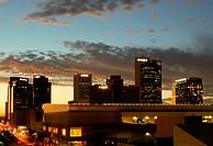 Phoenix, AZ, USA - October 17, 2014: Downtown Phoenix, AZ skyline at dusk. Phoenix is the capital of arizona with a population of 1 1/2 million reside...