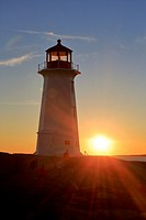 Peggy´s Cove Lighthouse, Nova Scotia, Canada at sunset