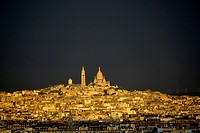 Aerial view of Sacre Coeur and Montmartre, Paris, France.