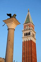 St. Mark´s campanile and Lion statue, Venice, Italy.