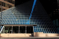 Pennzoil Place - Houston, TX. Located in downtown Houston, this renown building is comprized of 2 mirrored trapezoidal towers. Built in 1975 and desig...