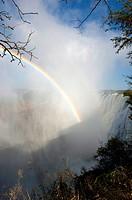 A rainbow in the spray of Victoria Falls near Livingston in Zambia.