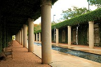 Gus and Lyndall Wortham Park - Houston, TX. Park and fountains located in the Texas Medical Center. Designed by John Burgee Architects in 1991.