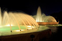 Mecom Fountain near Hermann Park - Houston, Texas. Installed in 1964, the Mecom Fountain majestically greets vistors at the entrance to Hermann Park. ...