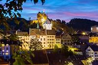 View towards castle, Baden, Kanton Aargau, Switzerland.