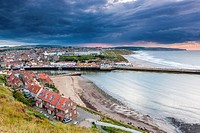 View of Whitby harbour and town, North Yorkshire, England, United Kingdom, Europe.