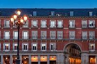 Street lamp in the Plasa Mayor, Madrid, Spain.