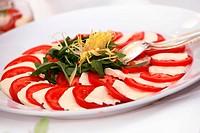 fresh salad with tomatoes and mozarella