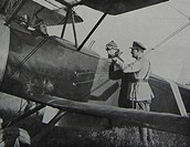 The king of Belgium Albert I greets a Belgian pilot during the Flanders offensive, during the First World War. 1917