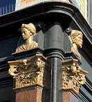 Decorative feature depicting African heads on a building along the Herengracht (Patricians' Canal or Lord's Canal) the first of the three major canals...