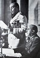 General Franco sits and listens to José Solís Ruiz (1913 - 1990) Spanish politician, minister during the dictatorship of General Franco. Ruiz was lead...