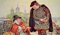 Painting of William Shakespeare (1564-1616) English poet, playwright and actor, buying a two penny orange from a fruit seller on Tower Hill. Dated 16t...