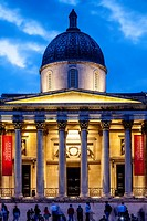 The National Gallery At Night, Tragalgar Square, London, England.