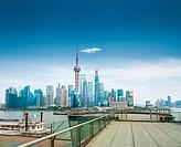 shanghai skyline and a sightseeing platform