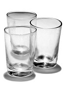 Still life with three glasses of water empty.