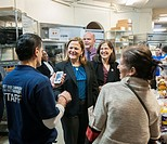 New York City Council Speaker Melissa Mark-Viverto, left, with Councilmember Helen Rosenthal, right, greets volunteers and staff at the West Side Camp...